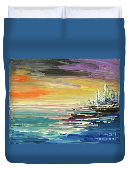 Duvet Cover featuring the painting Remote Harmonies by Tatiana Iliina