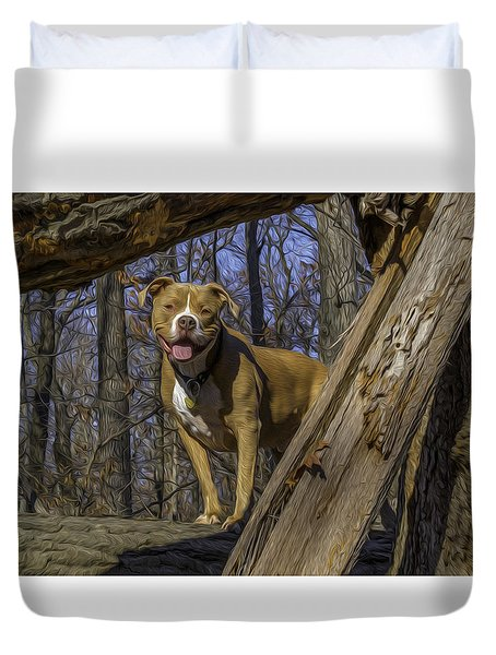 Remy In Tree Oil Paint More Pop Duvet Cover