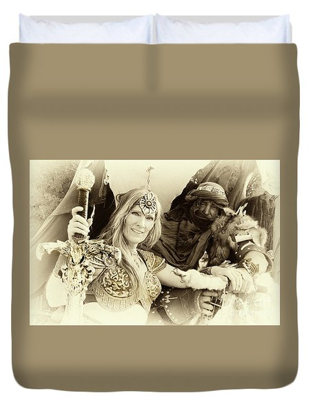 Duvet Cover featuring the photograph Renaissance Festival Barbarians by Bob Christopher