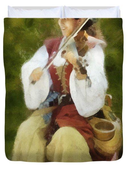Renaissance Fiddler Lady Duvet Cover by Francesa Miller