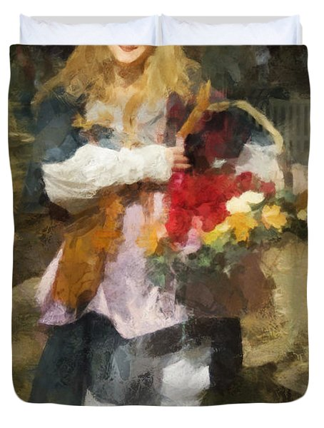 Renaissance Flower Lady Duvet Cover by Francesa Miller
