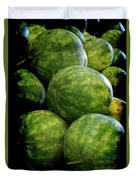 Duvet Cover featuring the photograph Renaissance Green Watermelon by Jennifer Wright