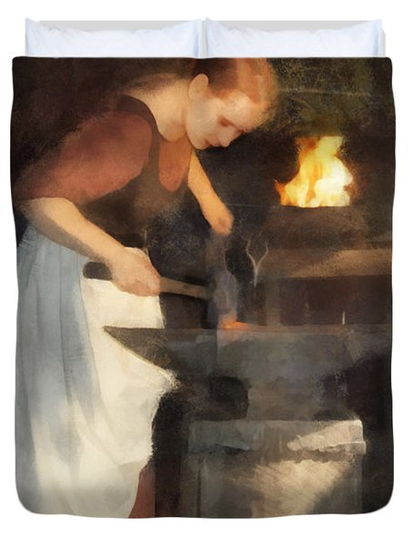 Renaissance Lady Blacksmith Duvet Cover