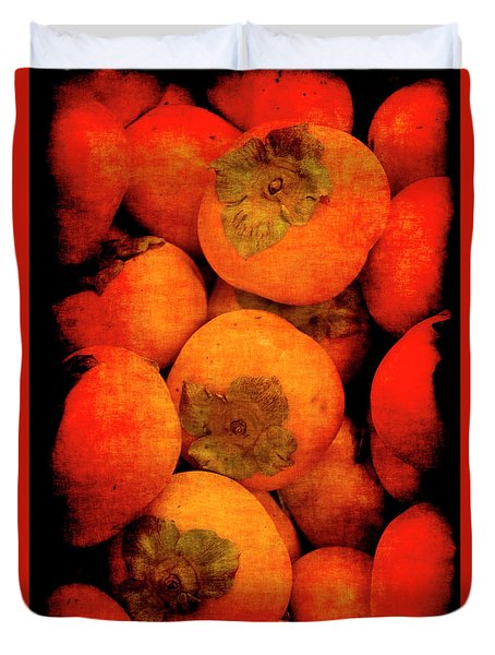 Duvet Cover featuring the photograph Renaissance Persimmons by Jennifer Wright