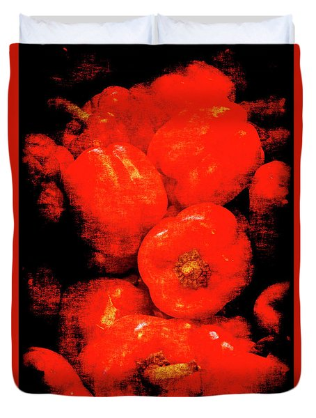 Duvet Cover featuring the photograph Renaissance Red Peppers by Jennifer Wright