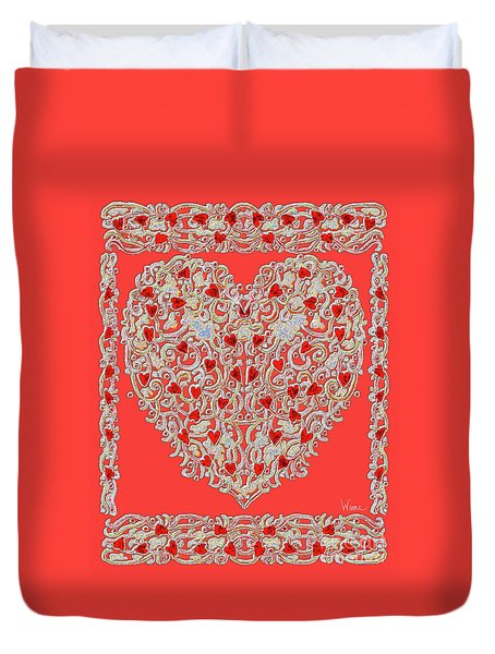 Renaissance Style Heart Duvet Cover