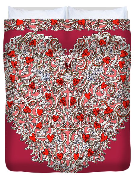 Renaissance Style Heart With Dark Red Background Duvet Cover