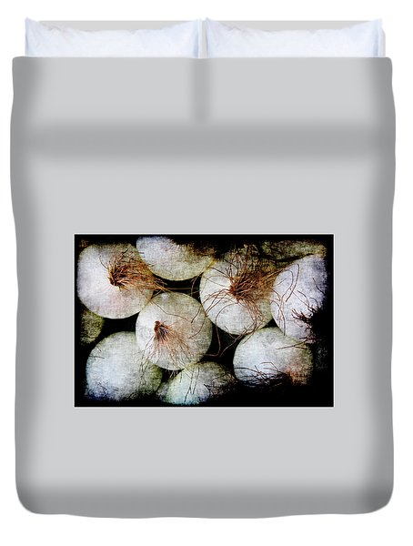 Duvet Cover featuring the photograph Renaissance White Onions by Jennifer Wright