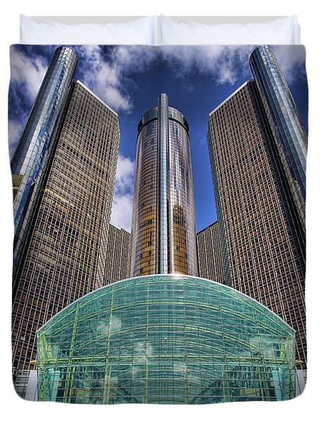 Rencen Detroit Gm Renaissance Center Duvet Cover by Gordon Dean II