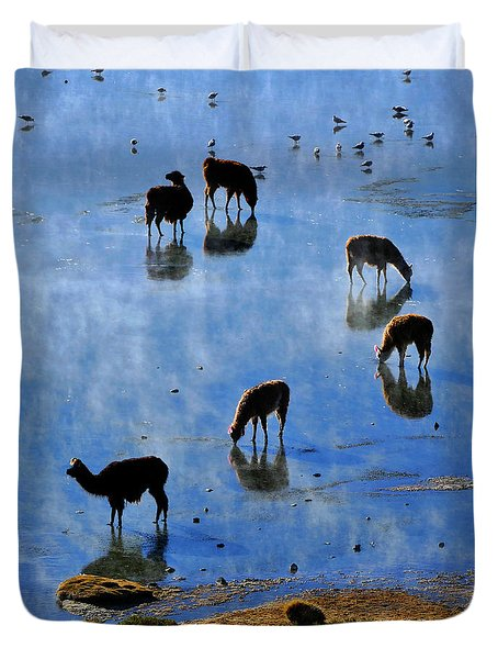 Duvet Cover featuring the photograph Rendezvous by Skip Hunt