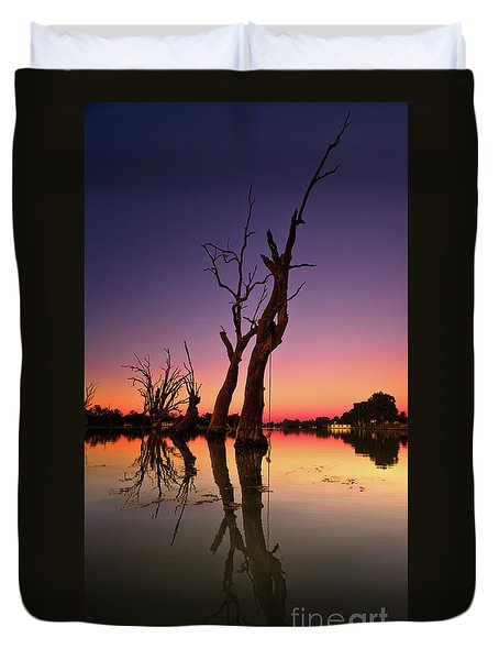 Duvet Cover featuring the photograph Renmark South Australia Sunset by Bill Robinson