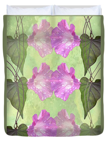 Repeated Morning Glories Duvet Cover by Rosalie Scanlon