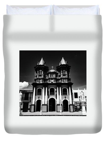 Replica Church In El Penol Duvet Cover