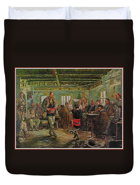 Duvet Cover featuring the painting replica of Ruchenitsa by Nikola Tanev by Pemaro
