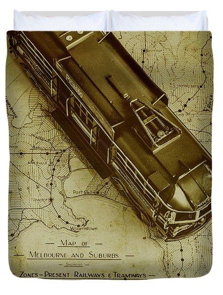 Replicating Past Tram Transit Duvet Cover