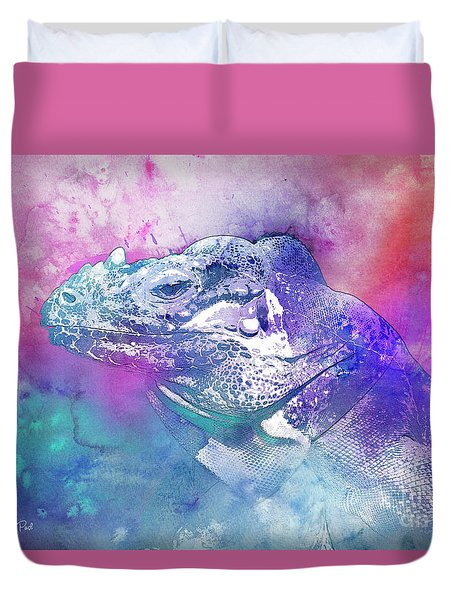 Duvet Cover featuring the mixed media Reptile Profile by Jutta Maria Pusl