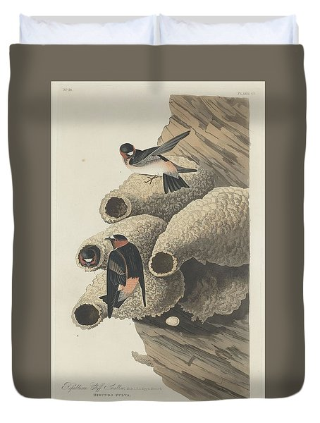 Republican Cliff Swallow Duvet Cover by Anton Oreshkin