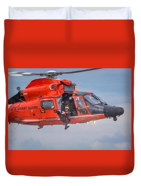 Duvet Cover featuring the photograph Rescue Swimmer Jumps From Helicopter by Gregory Daley  PPSA
