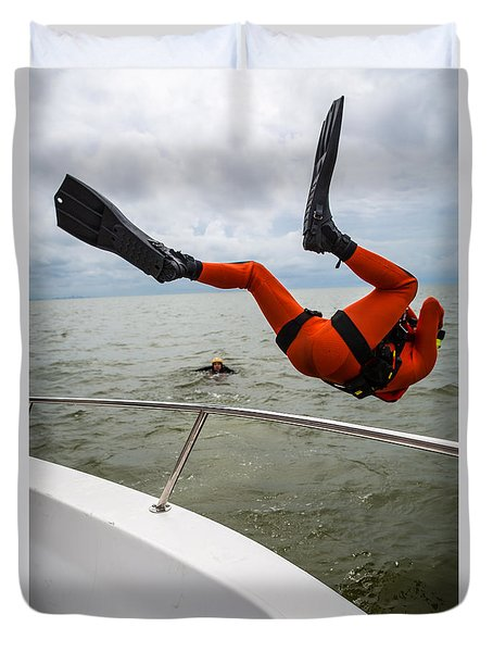 Rescue Swimmer Overboard Duvet Cover by Gregory Daley  PPSA