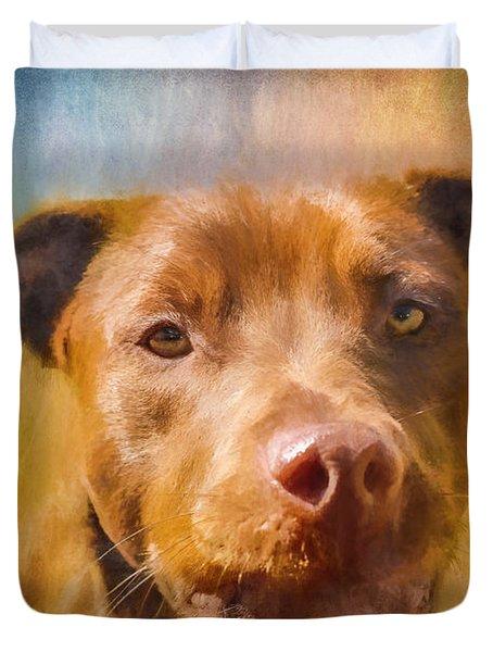 Rescued Chocolate Lab Portrait Duvet Cover