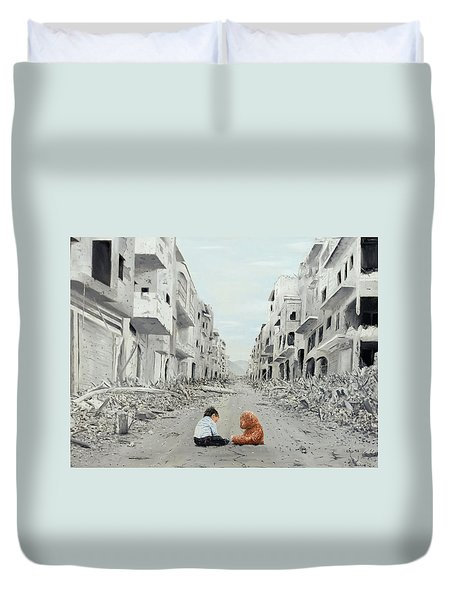Duvet Cover featuring the painting Resilience by Kevin Daly