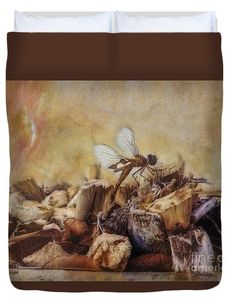 Duvet Cover featuring the digital art Respite Of The Mosquito Hawk by Rhonda Strickland