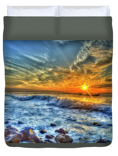 Resplendent Pacific Sunset North Shore Oahu Hawaii Collection Art Duvet Cover