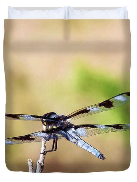 Duvet Cover featuring the photograph Rest Area, Dragonfly On A Branch by Shelli Fitzpatrick