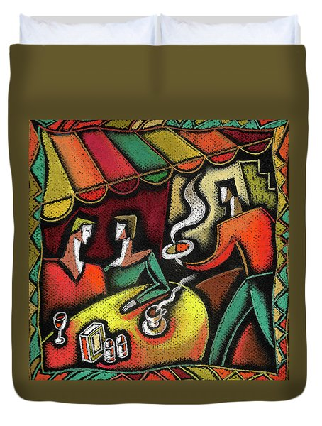 Duvet Cover featuring the painting Restaurant by Leon Zernitsky