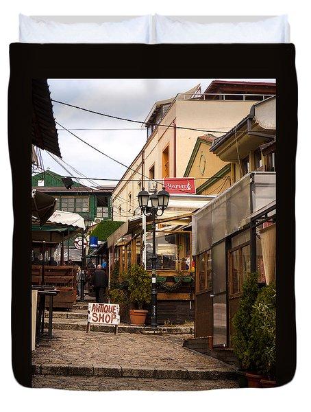 Restaurants In The Bazaar Duvet Cover by Rae Tucker