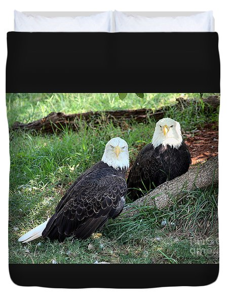 Duvet Cover featuring the photograph Resting Bald Eagles by Sheila Brown