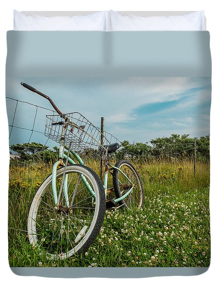 Duvet Cover featuring the photograph Resting Bike With Flowers by Jose Oquendo
