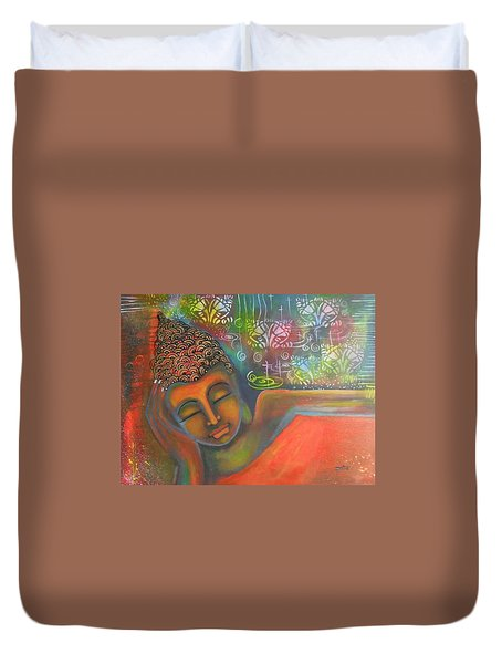Duvet Cover featuring the painting Buddha Resting Against A Colorful Backdrop by Prerna Poojara