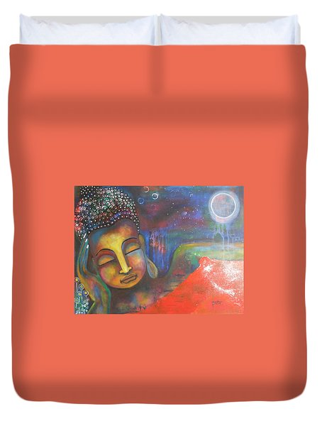 Duvet Cover featuring the painting Buddha Resting Under The Full Moon  by Prerna Poojara