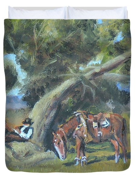 Resting Cowboy Painting A Study Duvet Cover