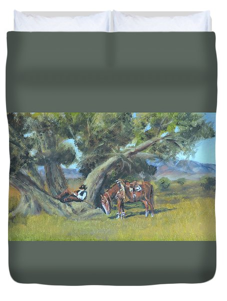 Duvet Cover featuring the painting Resting Cowboy Painting A Study by  Luczay