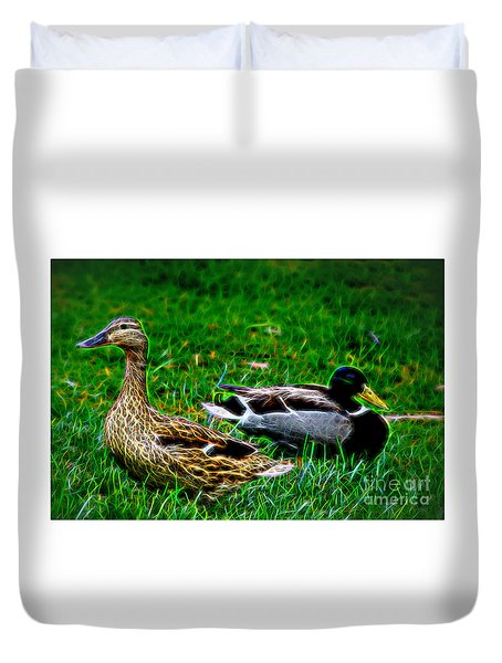 Duvet Cover featuring the photograph Resting Ducks by Mariola Bitner