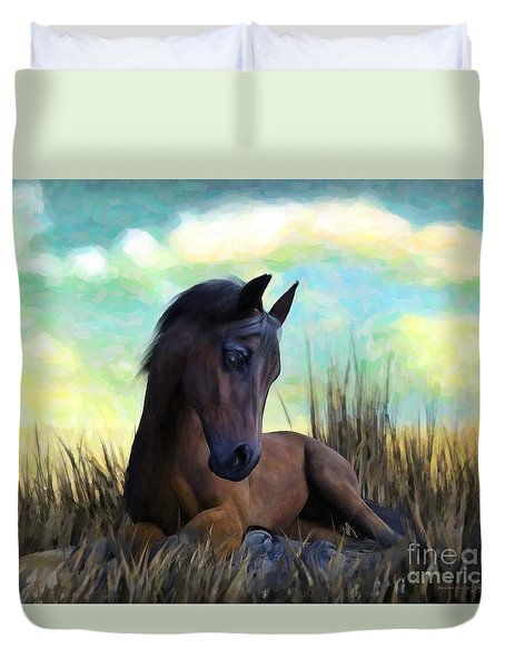 Duvet Cover featuring the painting Resting Foal by Sandra Bauser Digital Art