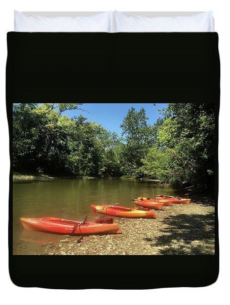 Resting Kayaks Duvet Cover