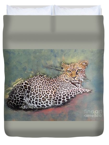 Resting Leopard Duvet Cover by Richard James Digance