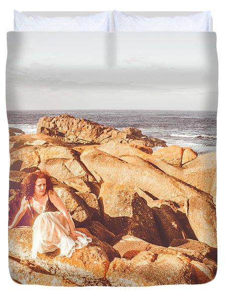 Resting On A Cliff Near The Ocean Duvet Cover