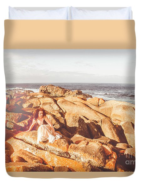 Resting On A Cliff Near The Ocean Duvet Cover