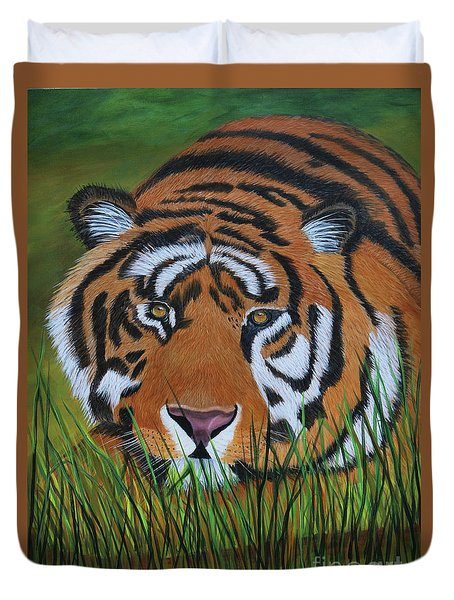 Duvet Cover featuring the painting Resting Tiger  by Myrna Walsh