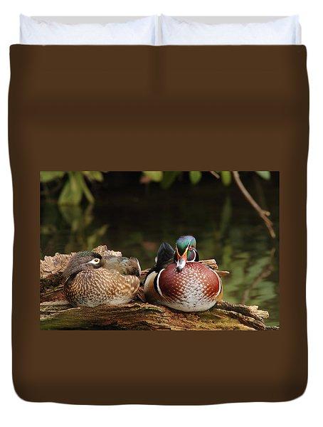 Resting Wood Ducks Duvet Cover