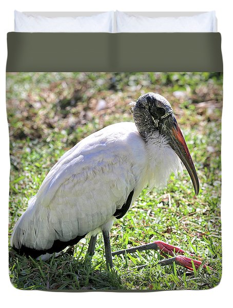 Resting Wood Stork Duvet Cover