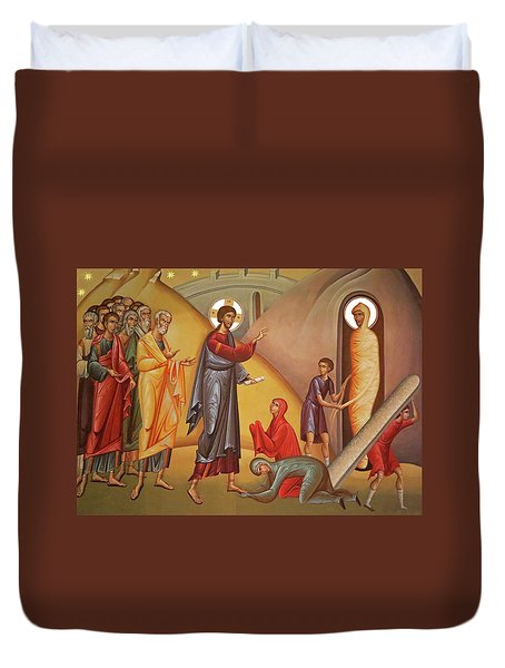 Duvet Cover featuring the painting Resurrection Of Lazarus by Munir Alawi