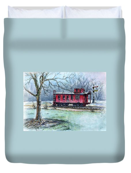 Retired Red Caboose Duvet Cover