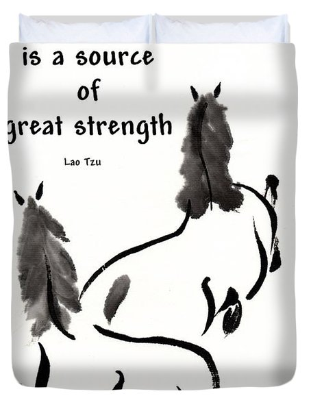 Duvet Cover featuring the painting Retired With Lao Tzu Quote IIi by Bill Searle