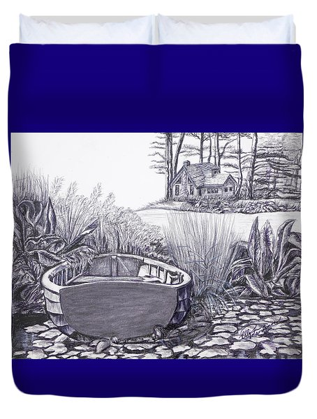 Duvet Cover featuring the drawing Retreat by Elly Potamianos
