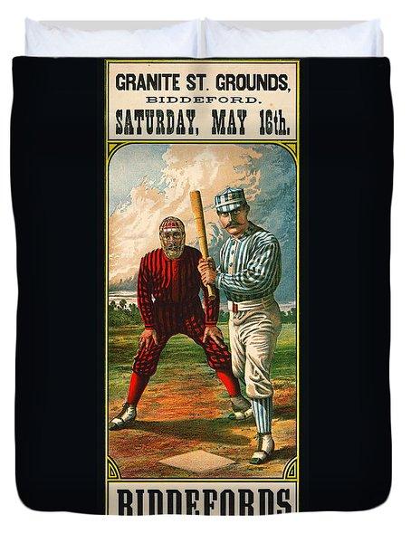Retro Baseball Game Ad 1885 B Duvet Cover